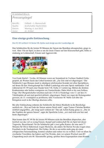 Pressespiegel - FC Schüttorf 09