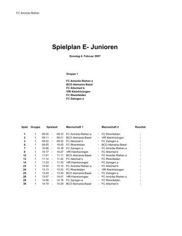 Spielplan E- Junioren - FC Amicitia Riehen