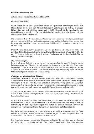 Bericht Präsident - FC Amicitia Riehen