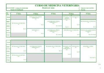 Horário das Disciplinas do 2º semestre de 2012 - Unesp