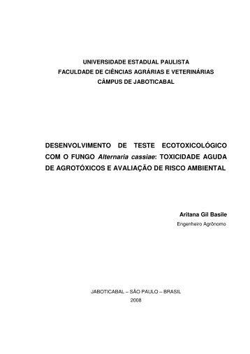 DESENVOLVIMENTO DE TESTE ECOTOXICOLÓGICO ... - Unesp