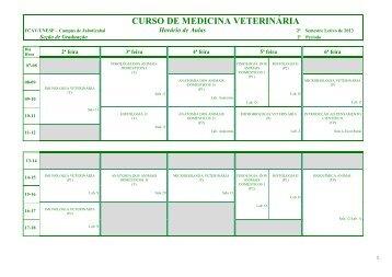 Horário das Disciplinas do 1º semestre de 2013 - Unesp