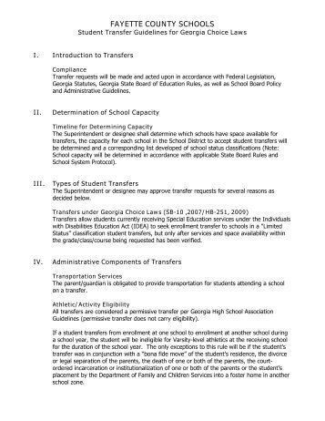 Fayette county schools student transfer guidelines for georgia