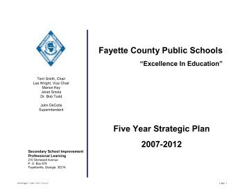 Strategic Goals - Fayette County Schools