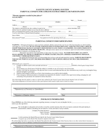Parental Consent Form - Fayette County Schools