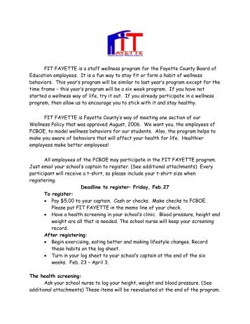 "WHAT IS ""FIT FAYETTE"" - Fayette County Schools"