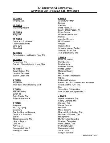 AP Literature and Composition/AP Works List