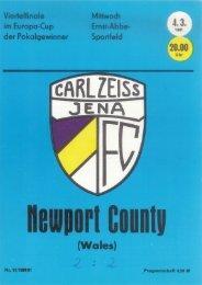 Programmheft FC Carl Zeiss Jena - Newport County (4. März 1981)