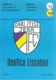 Programmheft FC Carl Zeiss Jena - Benfica Lissabon (8. April 1981)