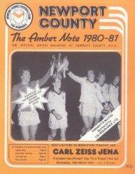 Programmheft Newport County - FC Carl Zeiss Jena (18. March 1981)
