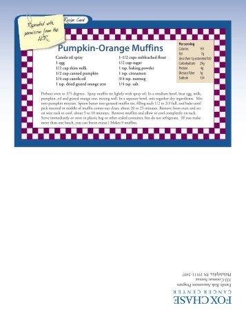 Pumpkin-Orange Muffins - Fox Chase Cancer Center