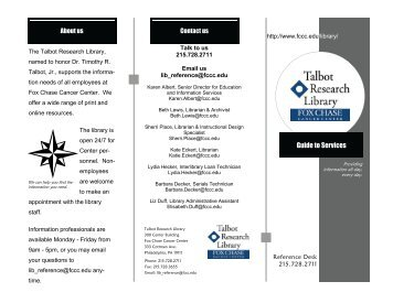 Talbot Research Library brochure - Fox Chase Cancer Center