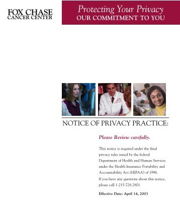 Notice of Privacy Practice - Fox Chase Cancer Center