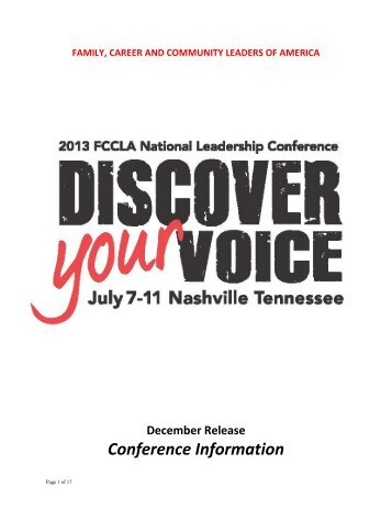 National Leadership Conference - fccla