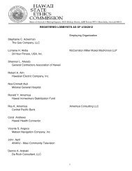 Registered Lobbyists as of April 30, 2012 - State of Hawaii