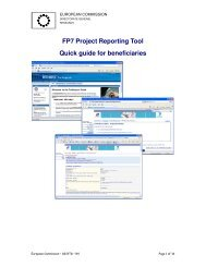 FP7 Project Reporting Tool Quick guide for beneficiaries - FCH JU