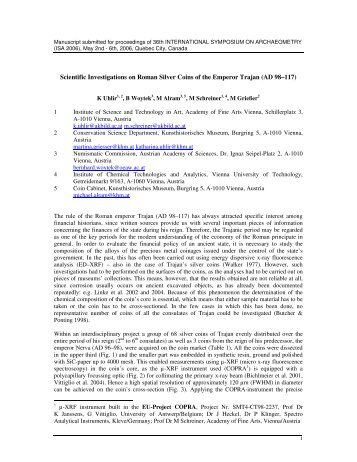 Scientific Investigations on Roman Silver Coins of the Emperor Trajan