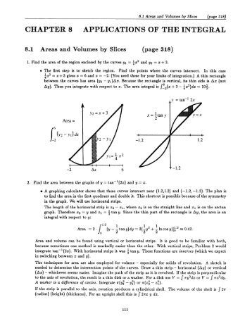 CHAPTER 8 APPLICATIONS OF THE INTEGRAL