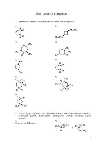 Quiz – Alkany & Cykloalkany