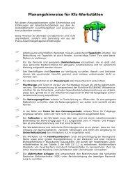 Planungshinweise für Kfz-Werkstätten