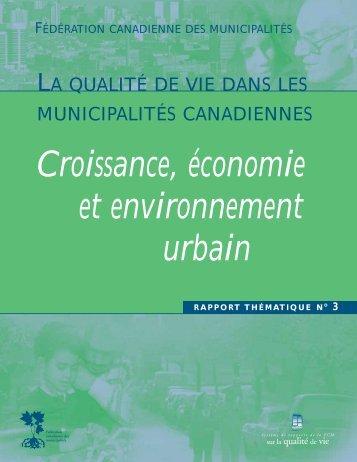 Croissance, économie et environnement urbain - FCM