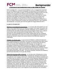 Le Nouveau Plan d'infrastructure à Long Terme du Canada - FCM