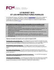 LE BUDGET 2013 ET LES INFRASTRUCTURES RURALES - FCM
