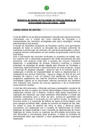 Relatório de Gestão 2008 - Faculdade de Ciências Médicas ...