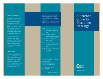 A Parent's Guide to Discipline Hearings - Fairfax County Public ...