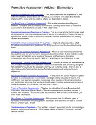 Formative Assessment Articles - Elementary