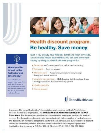 Health discount program. Be healthy. Save money.
