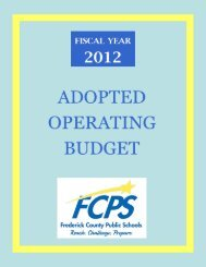 FY 2012 Adopted Operating Budget - Frederick County Public Schools