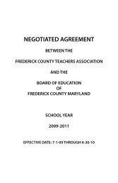 FCTA Negotiated Agreement - Frederick County Public Schools