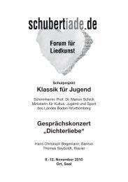 """Klassik für Jugend Gesprächskonzert """"Dichterliebe"""" - FCS-Freiburg"""