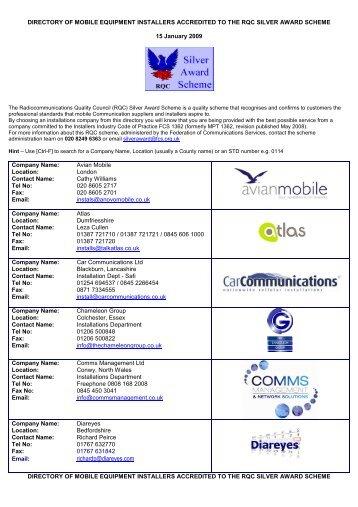 09-01-15-SAS Installer List - Federation of Communication Services