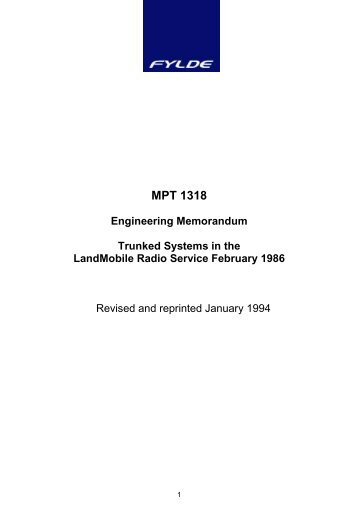 MPT 1318 - Federation of Communication Services