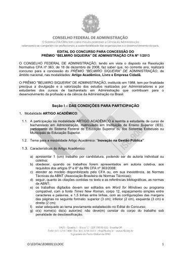 Edital Prêmio Belmiro Siqueira de Administração 2013 - Fcsl.edu.br