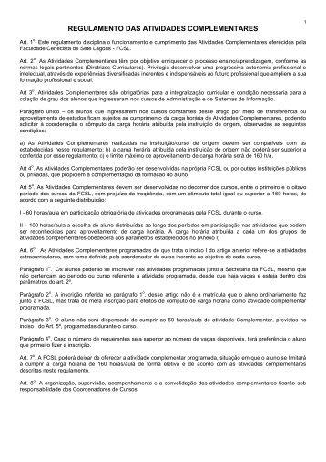 regulamento das atividades complementares - Fcsl.edu.br
