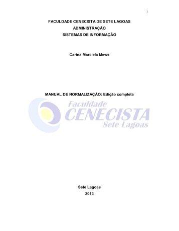 FACULDADE CENECISTA DE SETE LAGOAS ... - Fcsl.edu.br