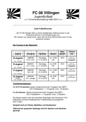 einladung hallenturniere der d- bzw. f-junioren bzw. g-junioren, Einladung