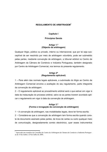 Regulamento de Arbitragem - Centro de Arbitragem Comercial