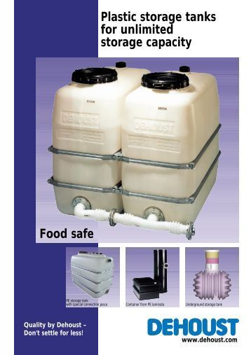 Plastic storage tanks for unlimited storage capacity Food safe