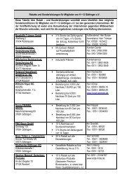 Rabatte und Sonderleistungen für Mitglieder ... - H+G Göttingen eV