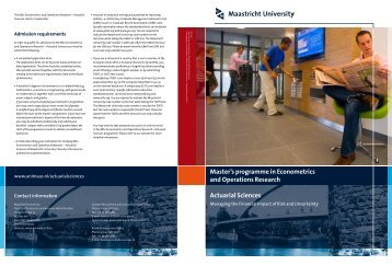 Master's programme in Econometrics and Operations Research ...