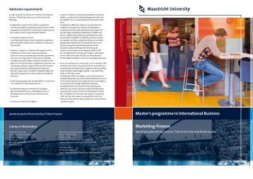Master's programme in International Business Marketing-Finance
