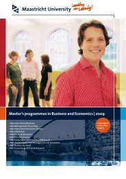 Master's programmes in Business and Economics | 2009 - School of ...
