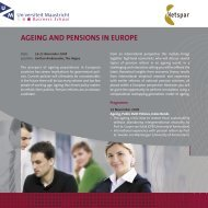 ageing and pensions in europe - Maastricht University School of ...