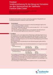 Preisblatt Sondervereinbarung für den Bezug von ... - Fdh-ffo.de
