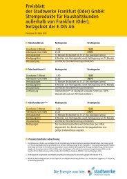 Preisblatt der Stadtwerke Frankfurt (Oder) GmbH ... - Fdh-ffo.de