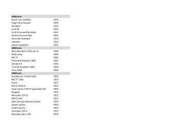se listen med veteranbiler - FDM